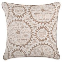 Make-Your-Own-Pillow Helix Medallion Square Throw Pillow Cover in Taupe