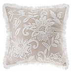 Floral Embroidered Square Throw Pillow in Natural