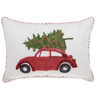 French Knot Car Rectangle Throw Pillow in Red