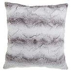 Striped Faux Fur 26-Inch Square Throw Pillow in Grey