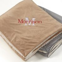 Initially Yours 60-Inch x 72-Inch Embroidered Sherpa Throw Blanket