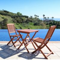 Vifah Classic 3-Piece Wood Bistro Set in Natural