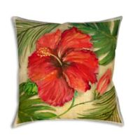 Tropical Hibiscus 19-Inch Square Indoor/Outdoor Throw Pillow
