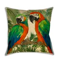 Two Parrots 19-Inch Square Indoor/Outdoor Throw Pillow