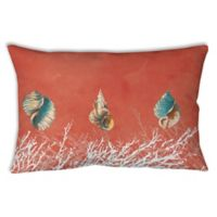 Manual Woodworkers Seashells Oblong Indoor/Outdoor Throw Pillow in Coral