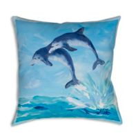 Manual Woodworkers Painted Dolphins Square Indoor/Outdoor Throw Pillow in Blue