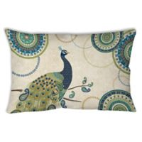 Manual Woodworkers Peacock Paradise Square Indoor/Outdoor Throw Pillow