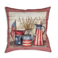 Old Glory Watering Cans 19-Inch Square Indoor/Outdoor Throw Pillow