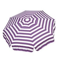6-Foot Round Italian Beach Umbrella in Purple/White