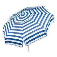 6-Foot Round Italian Beach Umbrella in Blue/White