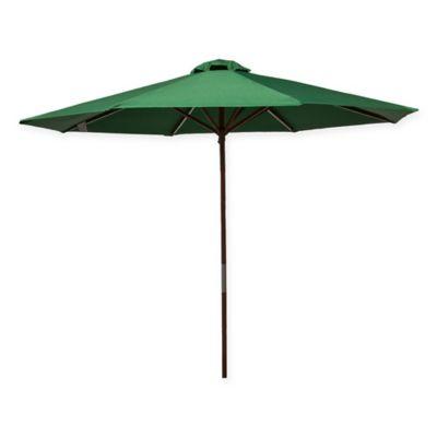 9 Foot Wood Classic Umbrella In Green