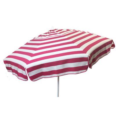 6 Foot Round Italian Beach Umbrella In Pink/White