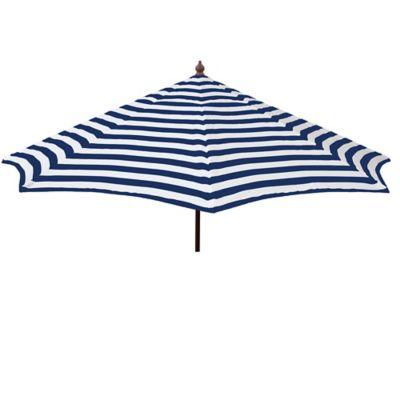 Destinationgear 9 Foot Italian Bistro Wooden Striped Umbrella In Blue White