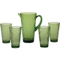 Certified International Diamond 5-Piece Pitcher Set in Green