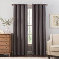 Reina 63-Inch Grommet Top Window Curtain Panel in Black/Silver
