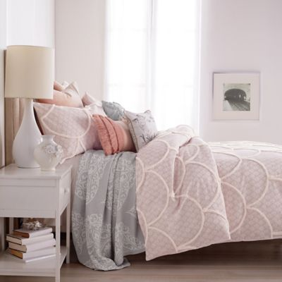 Peri Chenille Scallop Twin Duvet Cover In Blush