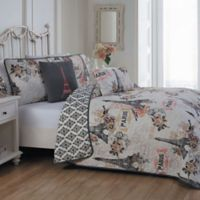 Cherie Reversible King Quilt Set in Coral