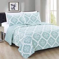 Great Bay Home Arabesque King Quilt Set in Blue