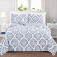 Great Bay Home Arabesque Full/Queen Quilt Set in Grey