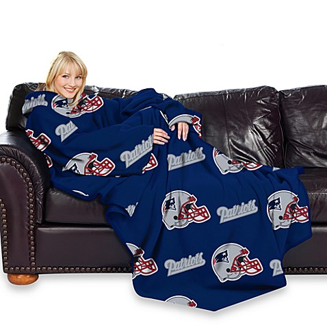 Nfl New England Patriots Comfy Throw Blanket With Sleeves