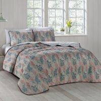 Ciara Reversible King Quilt Set in Blue/Coral