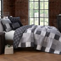 Evangeline Reversible King Quilt Set in Black