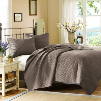 Hampton Hill Velvet Touch Queen Coverlet Set In Taupe