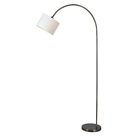 Kenroy home archer arc floor lamp in brass with fabric for Arc floor lamp with fabric shade