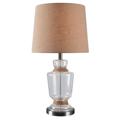 Kenroy Home Anderson Table Lamp In Glass With Tan Fabric Shade