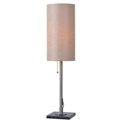 Kenroy Home Sadie Table Lamp In Brushed Steel With Fabric Cylinder Shade
