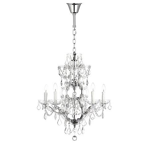 Safavieh couture elsa 5 light ceiling mount crystal chandelier in safavieh couture elsa 5 light ceiling mount crystal chandelier in silver with cfl bulb aloadofball Gallery