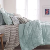 Peri Home Check Smocked Twin Comforter Set in Aqua