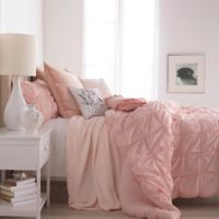 Peri Home Check Smocked Full/Queen Duvet Cover in Blush