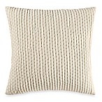 Make-Your-Own-Pillow Ticker Stitch Square Throw Pillow Cover in Cream