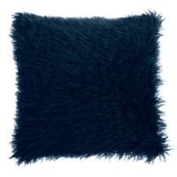 Make-Your-Own-Pillow Simon Fur Square Throw Pillow Cover in Navy