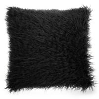Make-Your-Own-Pillow Simon Fur Square Throw Pillow Cover in Black