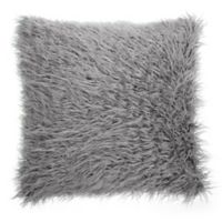 Make-Your-Own-Pillow Simon Fur Square Throw Pillow Cover in Grey