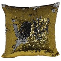 Make-Your-Own-Pillow Mermaid Square Throw Pillow Cover in Gold/Silver