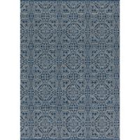 Magnolia Home by Joanna Gaines Emmie Kay 5-Foot x 7-Foot Area Rug in Navy/Cream