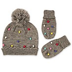 Rising Star™ Infant 2-Piece Pom Hat and Mitten Set in Grey