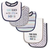 """Luvable Friends® 5-Pack """"Thank Heaven for Little Boys"""" Bib and Burp Cloth Set in Blue"""