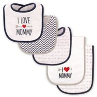 """Luvable Friends® 5-Pack """"I Love Mommy"""" Bib and Burp Cloth Set in Blue"""