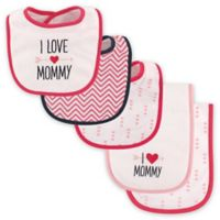 """Luvable Friends® 5-Pack """"I Love Mommy"""" Bib and Burp Cloth Set in Pink"""
