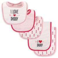 """Luvable Friends® 5-Pack """"I Love Daddy"""" Bib and Burp Cloth Set in Pink"""