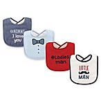 BabyVision® Luvable Friends® 4-Pack Little Man Drooler Bibs in Red
