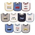 Luvable Friends® 10-Pack Transportation Drooler Bibs with PEVA Back in Blue
