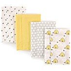 Hudson Baby 4-Pack Bees Burp Cloth Set in Yellow