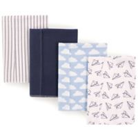 Hudson Baby 4-Pack Airplane Burp Cloth Set in Blue