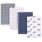 Hudson Baby 4-Pack Whales Burp Cloth Set in Blue