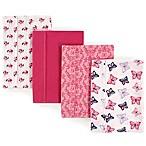 Hudson Baby 4-Pack Butterfly Burp Cloth Set in Pink